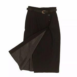 80s Midi Wool Skirt Black XS SM Straight Skirt
